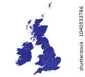 blue map of uk counties. white... | Shutterstock .eps vector #1040533786