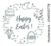 easter symbols. easter cake ... | Shutterstock .eps vector #1040535778