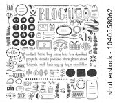 hand drawn design elements for... | Shutterstock .eps vector #1040558062