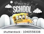 paper art of school bus running ... | Shutterstock .eps vector #1040558338