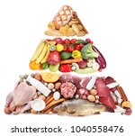 food pyramid or diet pyramid... | Shutterstock . vector #1040558476