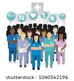 serious nurse group team work ... | Shutterstock .eps vector #1040562196