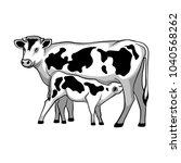 cow feeds calf. vector...   Shutterstock .eps vector #1040568262