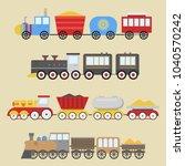 cartoon toy train vector... | Shutterstock .eps vector #1040570242