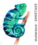 chameleon. hand drawn... | Shutterstock . vector #1040571655