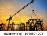 silhouette of engineer and... | Shutterstock . vector #1040574205