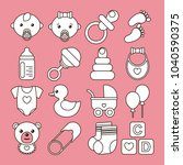 set of baby icons in line stile ... | Shutterstock .eps vector #1040590375