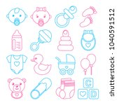 set of blue and pink baby icons ... | Shutterstock .eps vector #1040591512