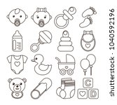set of baby icons in line stile.... | Shutterstock .eps vector #1040592196