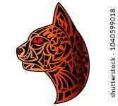 beautiful abstract tattoo head... | Shutterstock .eps vector #1040599018