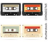 retro audio cassette  a set of... | Shutterstock .eps vector #1040602765