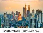 kuala lumpur  malaysia. sunset... | Shutterstock . vector #1040605762