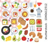 breakfast food vector icons and ... | Shutterstock .eps vector #1040612512