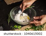 woman's hands mixing dough with ... | Shutterstock . vector #1040615002