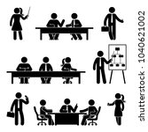 stick figure business meeting... | Shutterstock . vector #1040621002