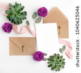 flat lay shot of letter and eco ... | Shutterstock . vector #1040625046