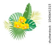 tropical orchid and palm leaves ... | Shutterstock .eps vector #1040641315