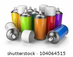 group of spray can. 3d icon...   Shutterstock . vector #104064515