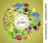 colorful vector of easter... | Shutterstock .eps vector #1040651995