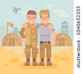 two happy soldier friends in a... | Shutterstock .eps vector #1040652355