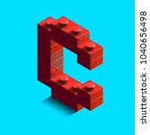 realistic red 3d isometric...   Shutterstock .eps vector #1040656498