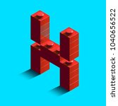 realistic red 3d isometric... | Shutterstock .eps vector #1040656522