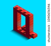 realistic red 3d isometric... | Shutterstock .eps vector #1040656546