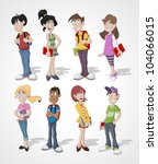 group cartoon teenager students | Shutterstock .eps vector #104066015