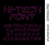 hi tech alphabet font. circuit... | Shutterstock .eps vector #1040661982