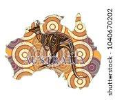 souvenir map of australia mural ... | Shutterstock .eps vector #1040670202