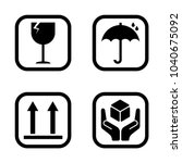 fragile signs icons set vector | Shutterstock .eps vector #1040675092
