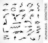 hand drawn arrows  vector set | Shutterstock .eps vector #1040677825