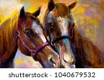 Stock photo original pastel painting on a cardboard of a horses modern art 1040679532