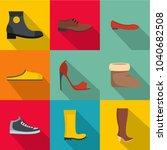 convenient footwear icons set.... | Shutterstock .eps vector #1040682508