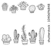 set of cactus in a pot with... | Shutterstock .eps vector #1040696848