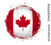 round grunge flag of canada... | Shutterstock .eps vector #1040699506