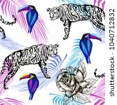 african seamless pattern with... | Shutterstock .eps vector #1040712832