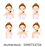 skin care routine   make up... | Shutterstock .eps vector #1040713726