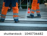 traffic line painting. workers... | Shutterstock . vector #1040736682