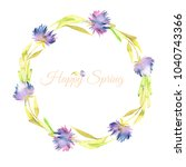 watercolor purple asters wreath ... | Shutterstock . vector #1040743366