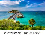 the road goes to pigeon island... | Shutterstock . vector #1040747092