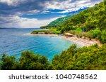 cinar beach view in akyaka... | Shutterstock . vector #1040748562