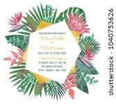 tropical wedding invitation...   Shutterstock .eps vector #1040753626