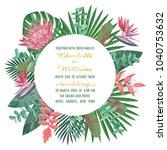 tropical wedding invitation... | Shutterstock .eps vector #1040753632