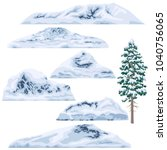 set of snow capped mountains... | Shutterstock .eps vector #1040756065