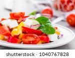 tomato salad with fresh bell... | Shutterstock . vector #1040767828