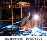 welder does the job.workers... | Shutterstock . vector #104076806