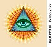 all seeing eye of god  the eye...   Shutterstock .eps vector #1040773438