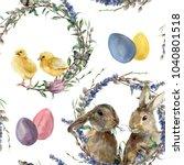 watercolor easter wreath... | Shutterstock . vector #1040801518