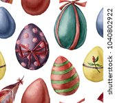 Watercolor Easter Eggs Pattern...